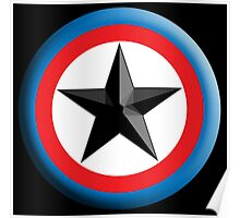 Bulls Eye Star, Right on Target, Roundel, Archery, Star, Badge, Buttton, on Black, Poster