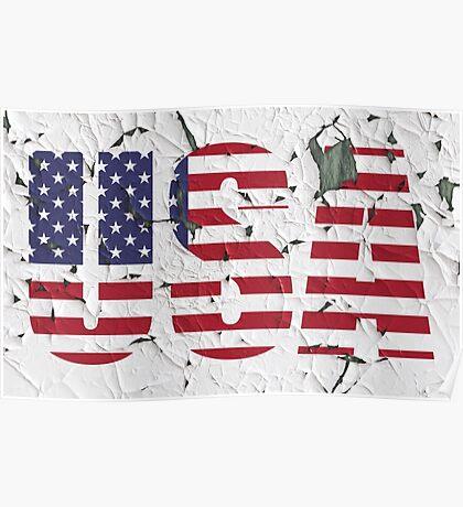 USA Peeling Paint Effect Poster