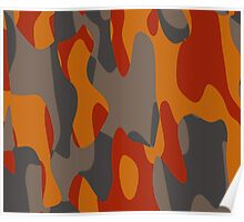 burnt orange camo abstract Poster