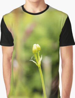Single Green Bud Flower Graphic T-Shirt