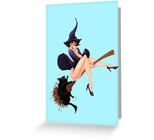 Retro Pinup Witch Girl Greeting Card