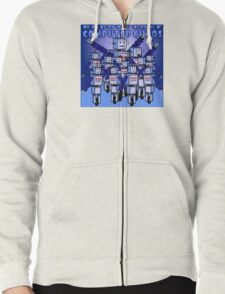 ROBOTS LOVE COMPUTED CHAOS With Blue Background Zipped Hoodie