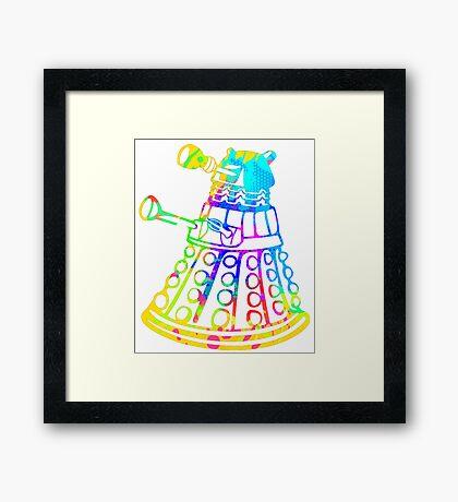 Colorful Splatter Paint Dalek Framed Print