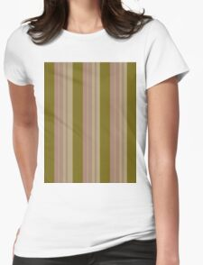 Pattern 016 Gold Pink Broad Stripes Womens Fitted T-Shirt