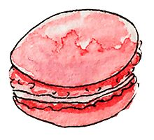 watercolor red macaroons Photographic Print