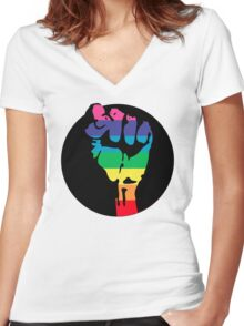 pride fist Women's Fitted V-Neck T-Shirt