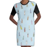 Jane Austen Characters - blue Graphic T-Shirt Dress
