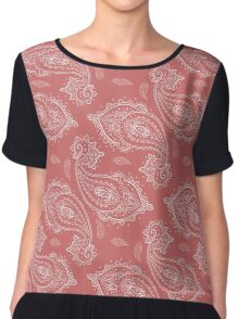 Coral Paisley Aztec Tribal Indian Pattern Chiffon Top