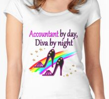 ACCOUNT BY DAY DIVA BY NIGHT SHOE QUEEN Women's Fitted Scoop T-Shirt