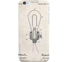 Edison Light Bulb Invention US Patent Art iPhone Case/Skin