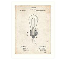 Edison Light Bulb Invention US Patent Art Art Print