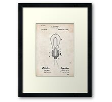 Edison Light Bulb Invention US Patent Art Framed Print
