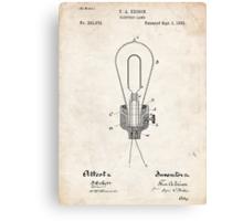 Edison Light Bulb Invention US Patent Art Canvas Print