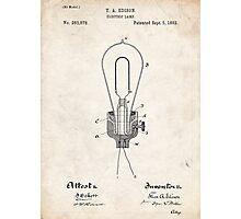Edison Light Bulb Invention US Patent Art Photographic Print