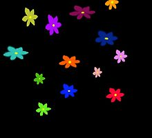 Twelve plus one cheerful flowers transparent background by JoAnnFineArt