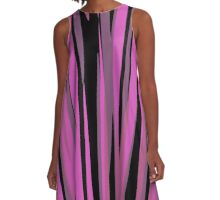 pink and black streaks abstract A-Line Dress