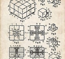 Rubik's Cube Toy Puzzle 1983 US Patent Art by Steve Chambers