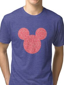 Mouse Pink Floral Patterned Silhouette Tri-blend T-Shirt