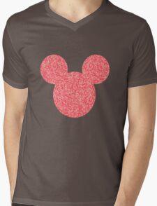 Mouse Pink Floral Patterned Silhouette Mens V-Neck T-Shirt