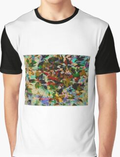 Multi-Colored Summer Leaf Inversion Design Graphic T-Shirt