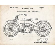 Harley-Davidson Motorcycle US Patent Art 1924 Photographic Print