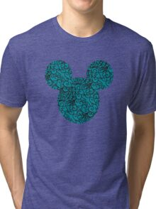 Mouse Spiral Patterned Turquoise Silhouette Tri-blend T-Shirt