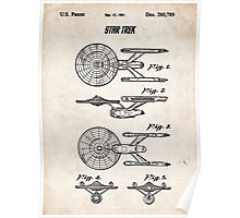 Star Trek USS Enterprise US Patent Art Spacecraft Rocket Kirk Spock Poster