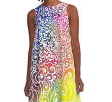 Swirly Portrait A-Line Dress
