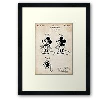 Mickey Mouse US Patent Art Walt Disney Cartoon 1930 Framed Print