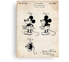 Mickey Mouse US Patent Art Walt Disney Cartoon 1930 Canvas Print