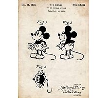 Mickey Mouse US Patent Art Walt Disney Cartoon 1930 Photographic Print