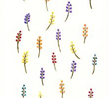 Watercolor minimalist flowers by T M B
