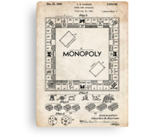 Monopoly Board Game US Patent Art 1935 Canvas Print