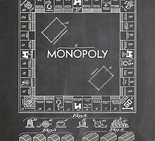 Monopoly Board Game US Patent Art 1935 Blackboard by geekuniverse