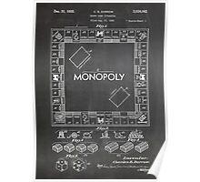 Monopoly Board Game US Patent Art 1935 Blackboard Poster