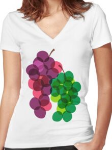 Retro Grapes Women's Fitted V-Neck T-Shirt