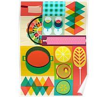 Wondercook Food Kitchen Pattern Poster