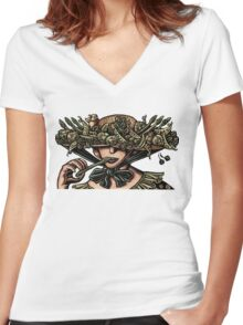 Woman in Hat Decorated with Vegetables Women's Fitted V-Neck T-Shirt