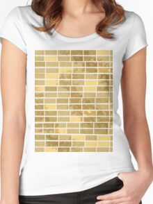 Pattern 020 Yellow Brown Brick Birds Women's Fitted Scoop T-Shirt