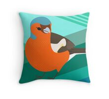 Retro Chaffinch British Bird Throw Pillow