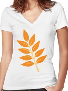 Autumn Leaves Women's Fitted V-Neck T-Shirt