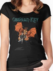Obsidian Key - Sly Dragon and Sonic V - Progressive Rock Metal - Hand drawn Women's Fitted Scoop T-Shirt