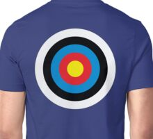 Bulls Eye, Right on Target, Roundel, Archery, on NAVY Unisex T-Shirt