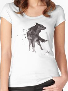 Wolf Watercolor Women's Fitted Scoop T-Shirt