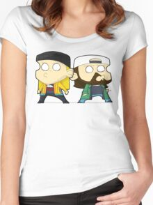 TheDandyTiger chibi style Jay & Bob Women's Fitted Scoop T-Shirt
