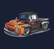 cartoon hotrod truck Kids Tee
