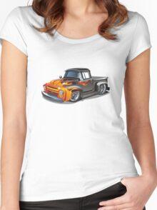 cartoon hotrod truck Women's Fitted Scoop T-Shirt