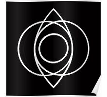Pisces Circle Leaf Geometry White Poster