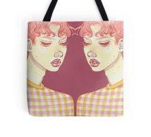 mirrored Bubblegum Boy with purple back drop Tote Bag