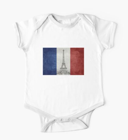Vintage national flag of France with Eiffel Tower insert One Piece - Short Sleeve